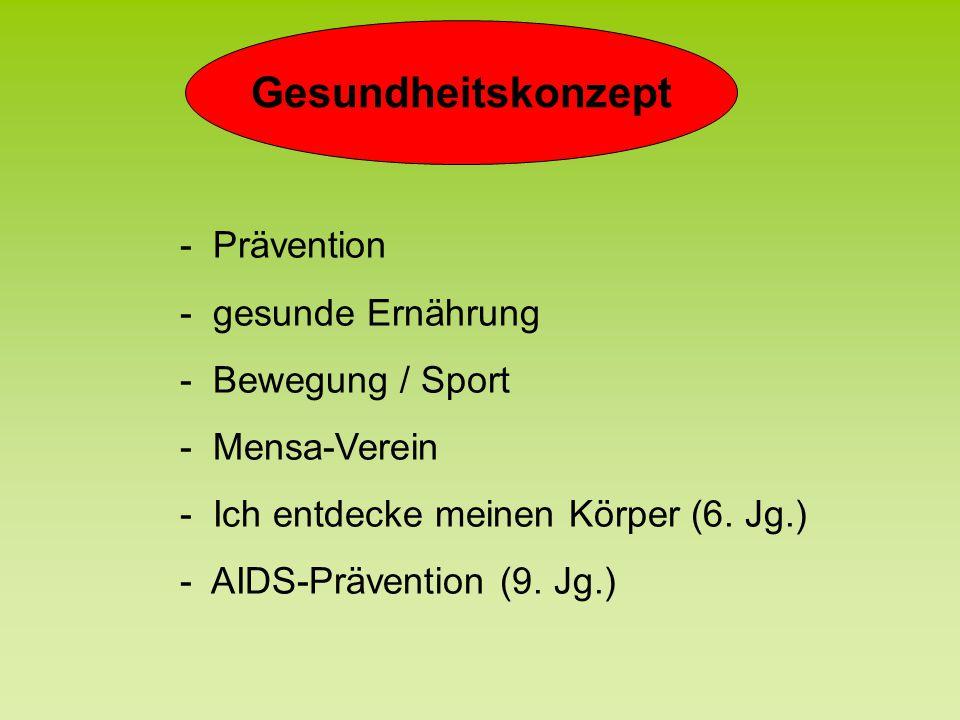 Gesundheitskonzept - Prävention - gesunde Ernährung - Bewegung / Sport - Mensa-Verein - Ich entdecke meinen Körper (6. Jg.) - AIDS-Prävention (9. Jg.)