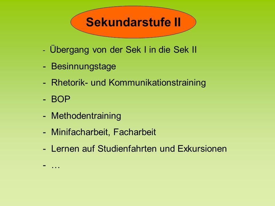 Sekundarstufe II - Übergang von der Sek I in die Sek II Übergang von der Sek I in die Sek II - Besinnungstage Besinnungstage - Rhetorik- und Kommunika