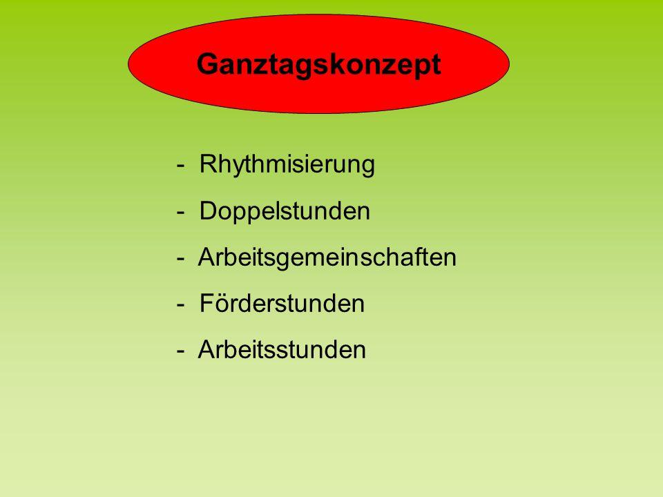 Ganztagskonzept - Rhythmisierung - Doppelstunden - Arbeitsgemeinschaften - Förderstunden - Arbeitsstunden