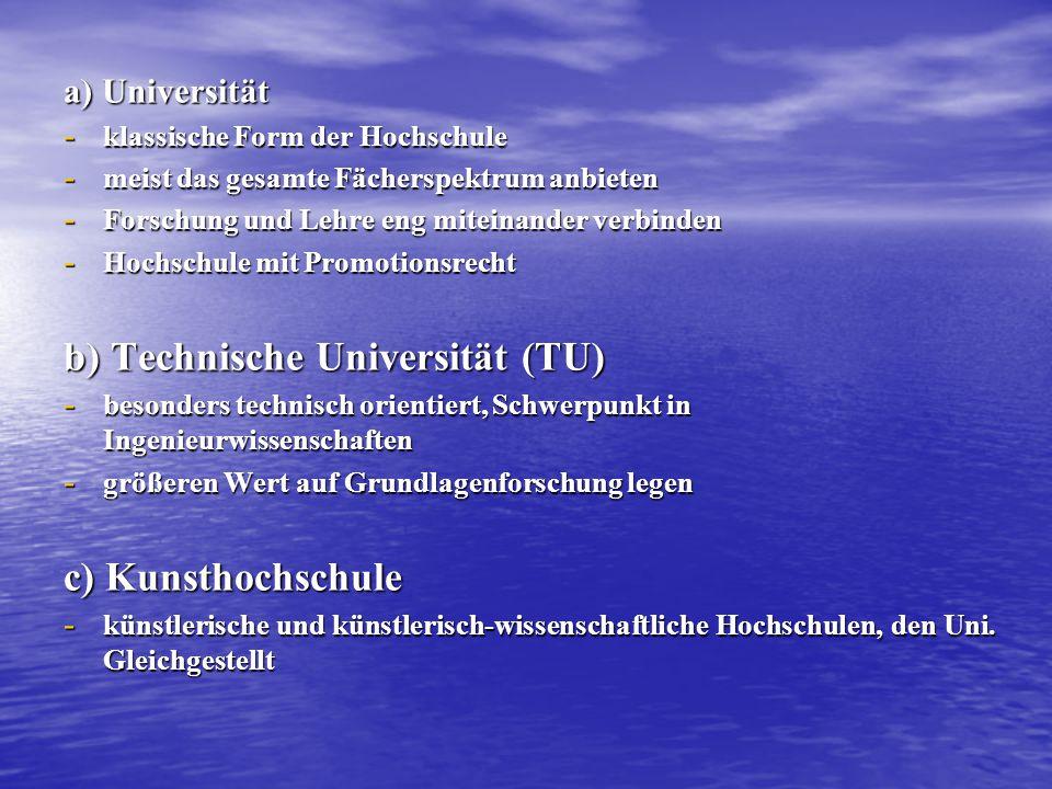 a) Universität - klassische Form der Hochschule - meist das gesamte Fächerspektrum anbieten - Forschung und Lehre eng miteinander verbinden - Hochschu