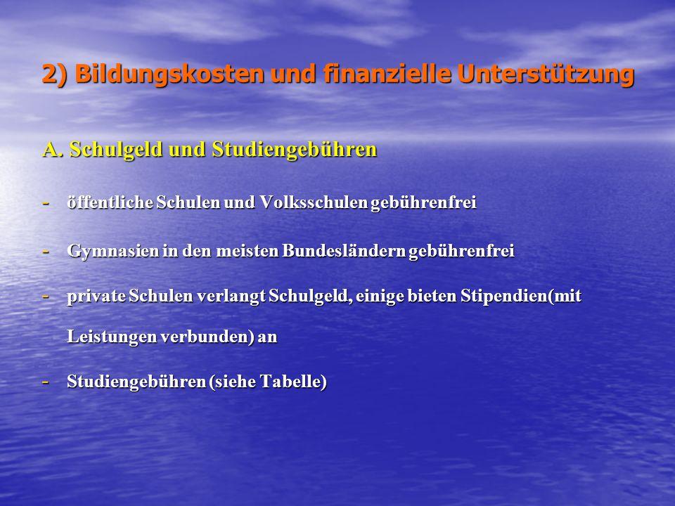 2) Bildungskosten und finanzielle Unterstützung A. Schulgeld und Studiengebühren - öffentliche Schulen und Volksschulen gebührenfrei - Gymnasien in de