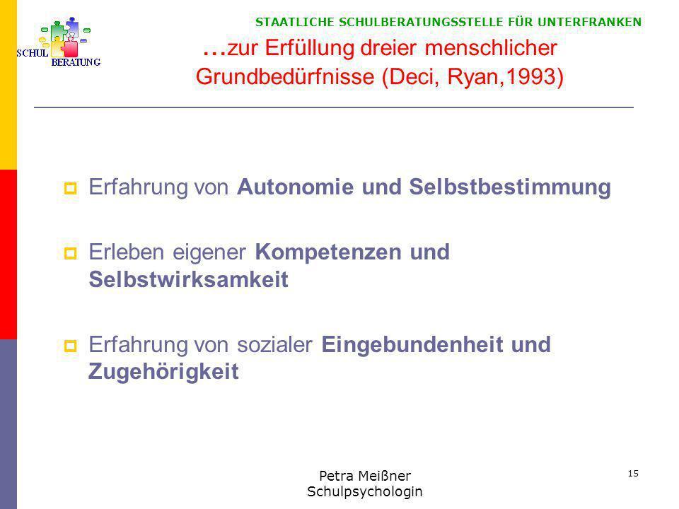 STAATLICHE SCHULBERATUNGSSTELLE FÜR UNTERFRANKEN... zur Erfüllung dreier menschlicher Grundbedürfnisse (Deci, Ryan,1993)  Erfahrung von Autonomie und