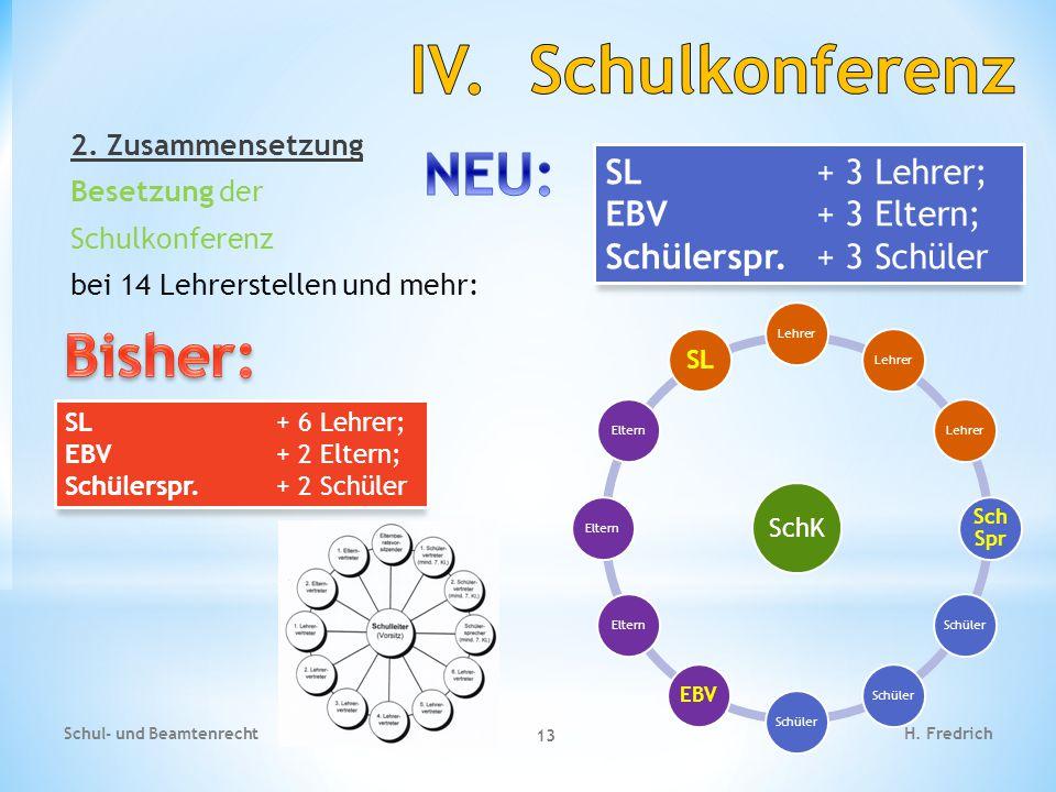 2. Zusammensetzung Besetzung der Schulkonferenz bei 14 Lehrerstellen und mehr: Schul- und Beamtenrecht 13 H. Fredrich SL + 6 Lehrer; EBV + 2 Eltern; S