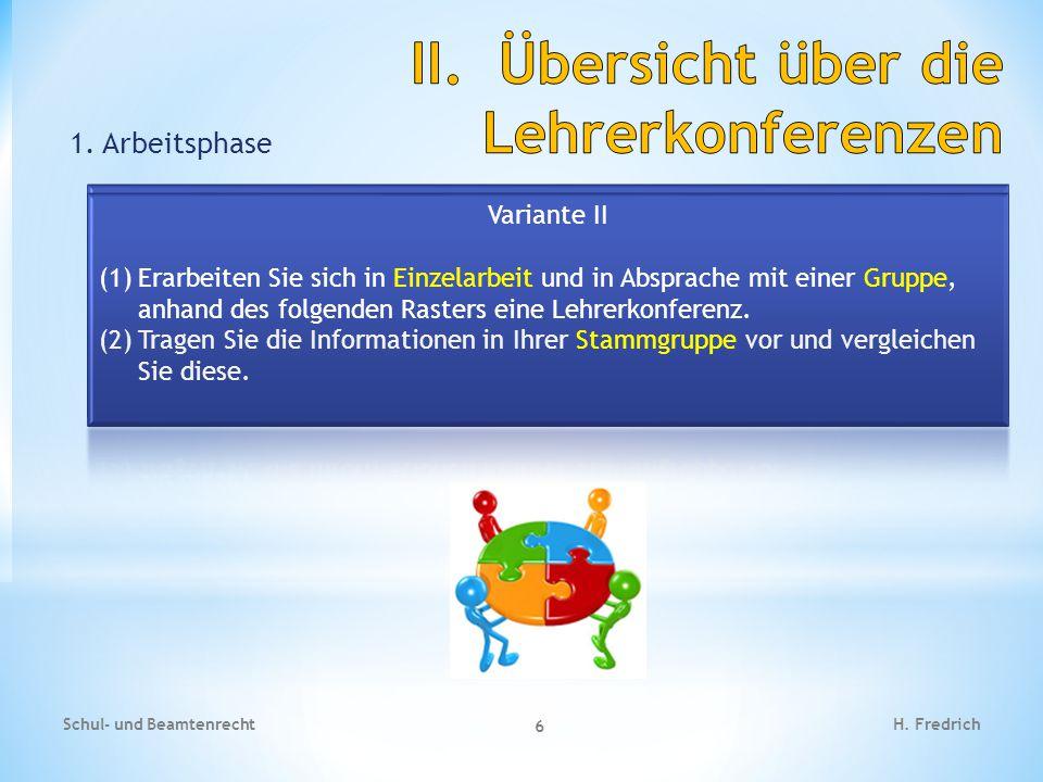 1. Arbeitsphase Schul- und Beamtenrecht 6 H. Fredrich