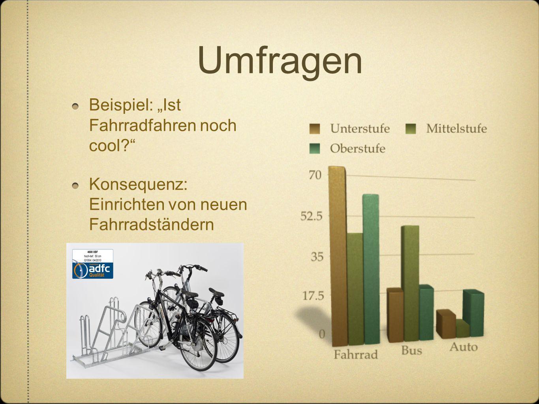 """Umfragen Beispiel: """"Ist Fahrradfahren noch cool?"""" Konsequenz: Einrichten von neuen Fahrradständern"""