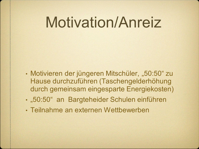 """Motivation/Anreiz Motivieren der jüngeren Mitschüler, """"50:50"""" zu Hause durchzuführen (Taschengelderhöhung durch gemeinsam eingesparte Energiekosten) """""""