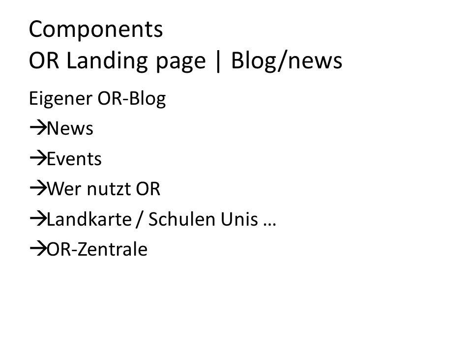Components OR Landing page | Blog/news Eigener OR-Blog  News  Events  Wer nutzt OR  Landkarte / Schulen Unis …  OR-Zentrale