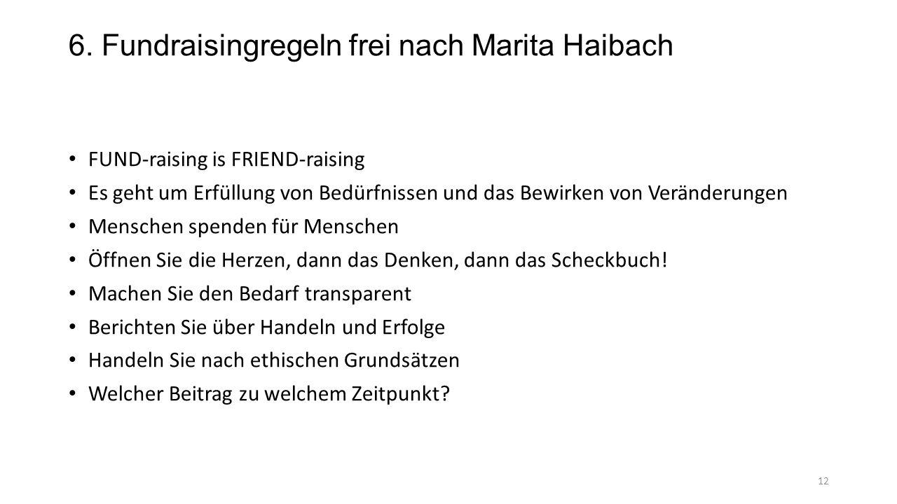 6. Fundraisingregeln frei nach Marita Haibach FUND-raising is FRIEND-raising Es geht um Erfüllung von Bedürfnissen und das Bewirken von Veränderungen
