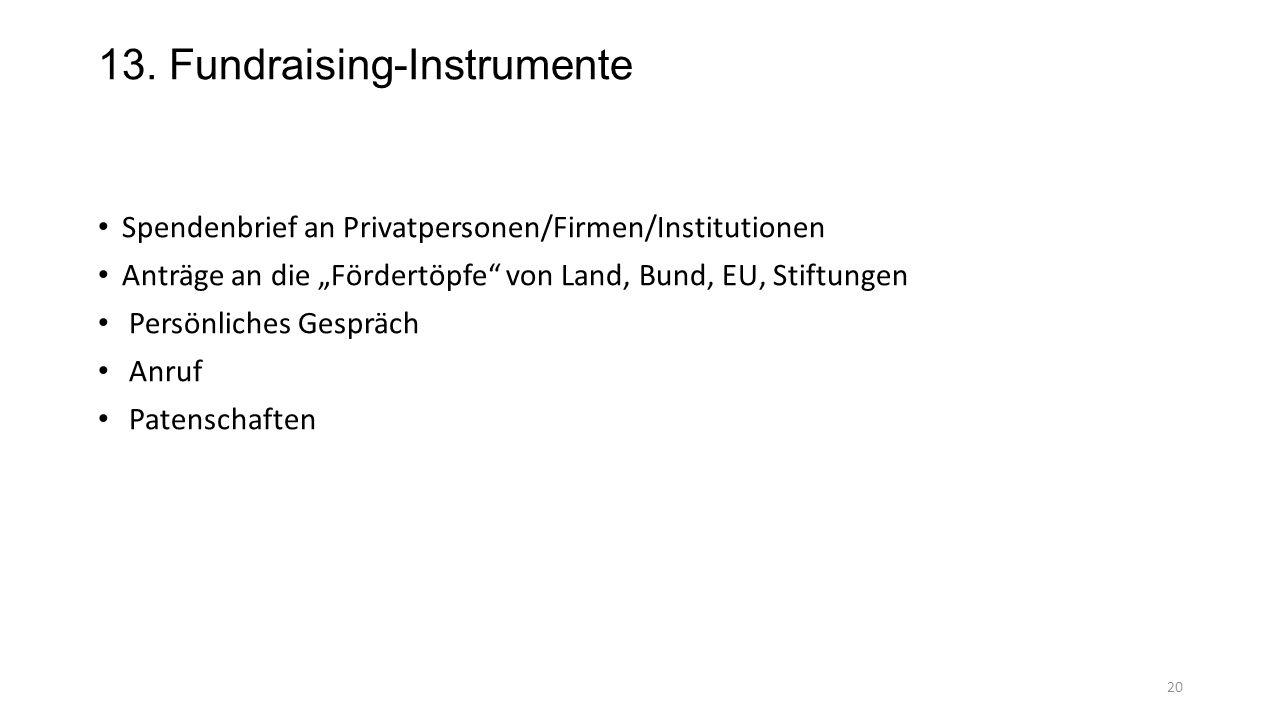 """13. Fundraising-Instrumente Spendenbrief an Privatpersonen/Firmen/Institutionen Anträge an die """"Fördertöpfe"""" von Land, Bund, EU, Stiftungen Persönlich"""