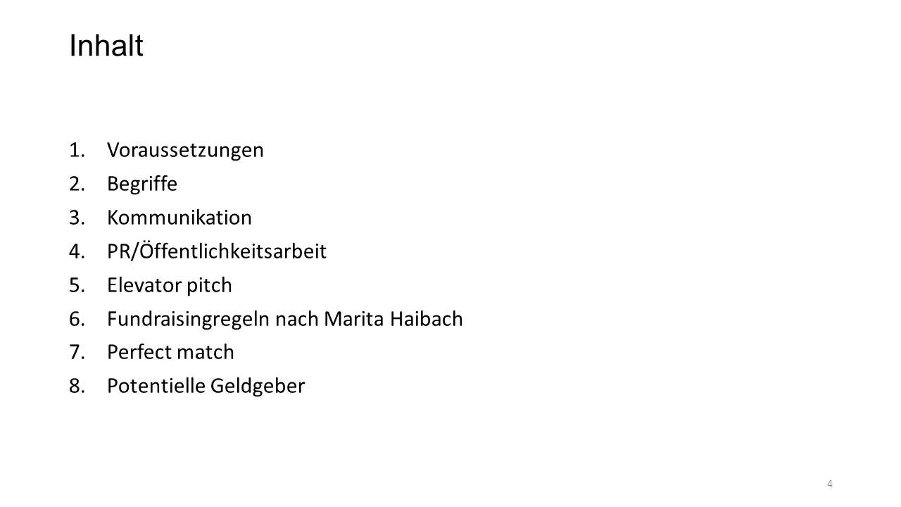 Inhalt 1.Voraussetzungen 2.Begriffe 3.Kommunikation 4.PR/Öffentlichkeitsarbeit 5.Elevator pitch 6.Fundraisingregeln nach Marita Haibach 7.Perfect matc