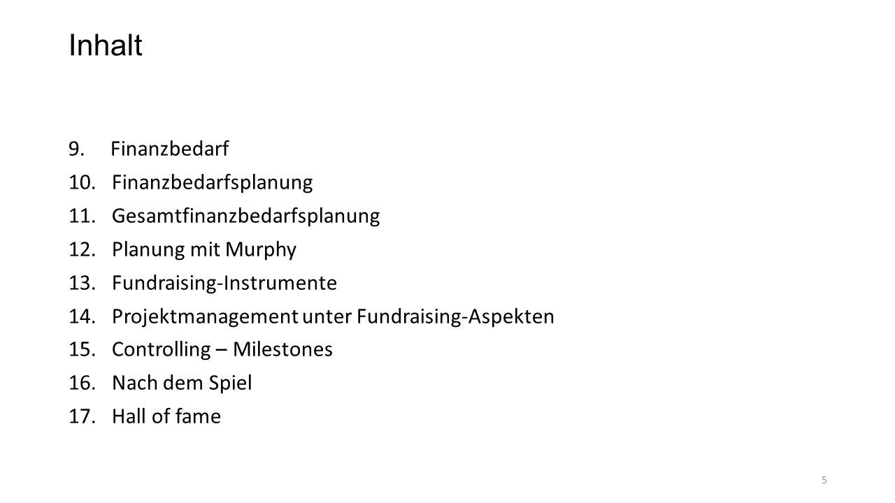 Inhalt 9. Finanzbedarf 10. Finanzbedarfsplanung 11. Gesamtfinanzbedarfsplanung 12. Planung mit Murphy 13. Fundraising-Instrumente 14. Projektmanagemen