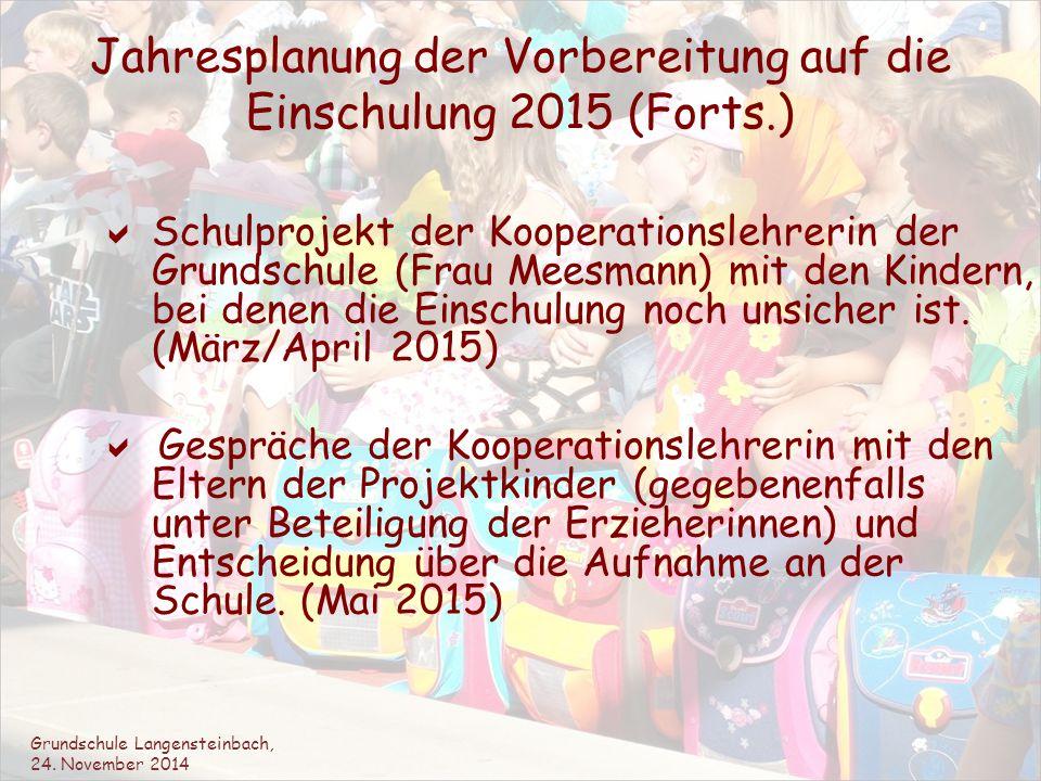 Jahresplanung der Vorbereitung auf die Einschulung 2015 (Forts.)  Schulprojekt der Kooperationslehrerin der Grundschule (Frau Meesmann) mit den Kinde