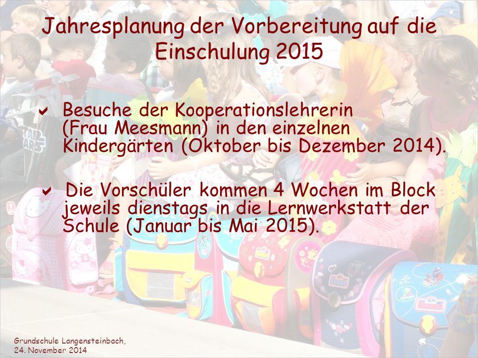 Jahresplanung der Vorbereitung auf die Einschulung 2015  Besuche der Kooperationslehrerin (Frau Meesmann) in den einzelnen Kindergärten (Oktober bis