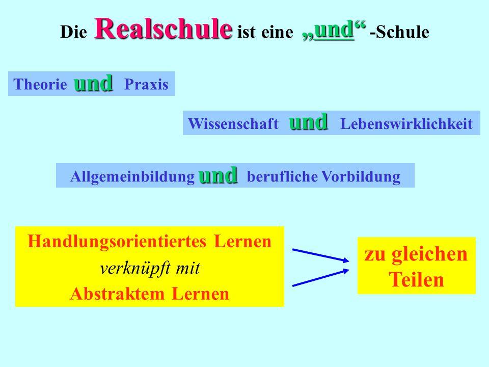 """Realschule Die Realschule ist eine -Schule Theorie Praxis Wissenschaft Lebenswirklichkeit Allgemeinbildung berufliche Vorbildung """"und und und und Handlungsorientiertes Lernen verknüpft mit Abstraktem Lernen zu gleichen Teilen"""