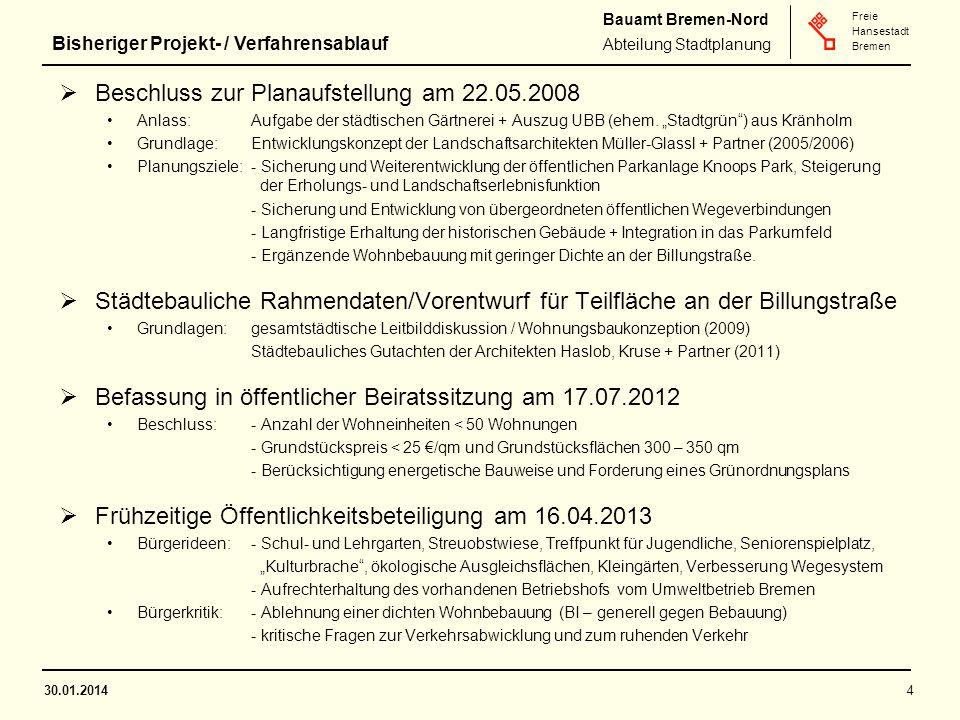 Bauamt Bremen-Nord Abteilung Stadtplanung Freie Hansestadt Bremen  Beschluss zur Planaufstellung am 22.05.2008 Anlass:Aufgabe der städtischen Gärtnerei + Auszug UBB (ehem.