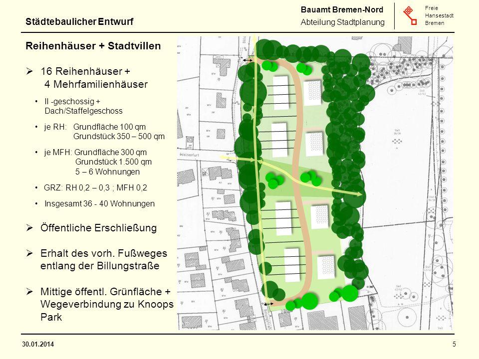 Bauamt Bremen-Nord Abteilung Stadtplanung Freie Hansestadt Bremen 30.01.20145 Reihenhäuser + Stadtvillen  16 Reihenhäuser + 4 Mehrfamilienhäuser II -