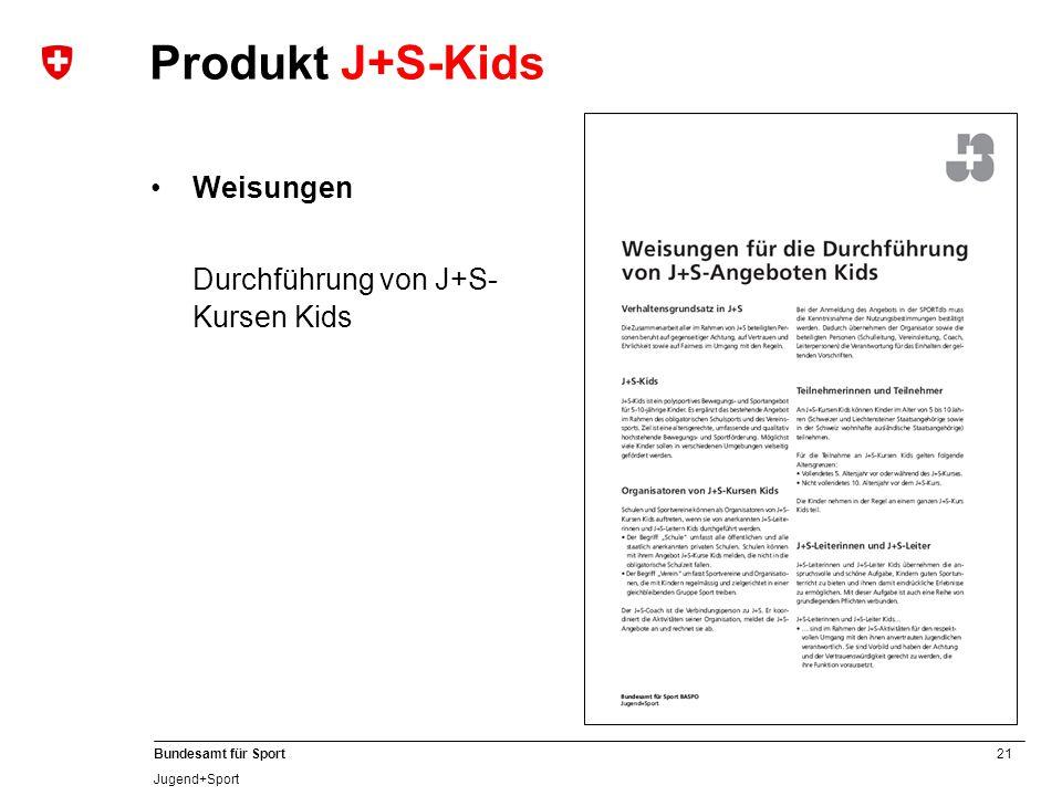21 Bundesamt für Sport Jugend+Sport Produkt J+S-Kids Weisungen Durchführung von J+S- Kursen Kids