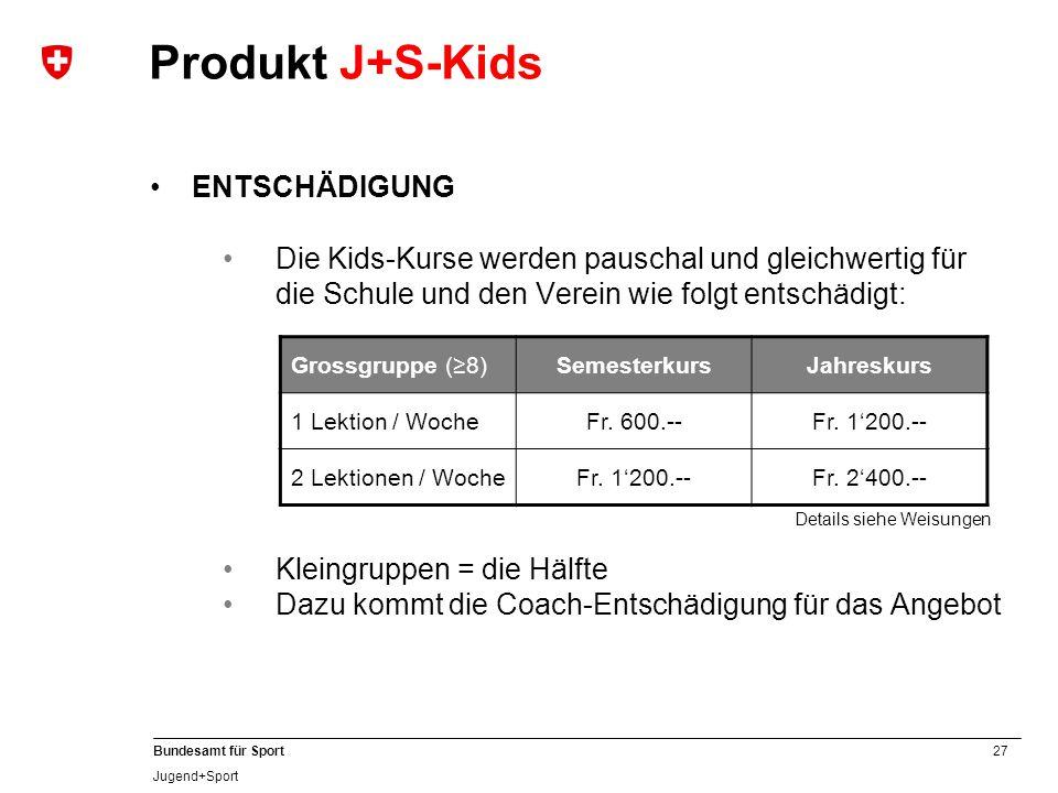 27 Bundesamt für Sport Jugend+Sport ENTSCHÄDIGUNG Die Kids-Kurse werden pauschal und gleichwertig für die Schule und den Verein wie folgt entschädigt: