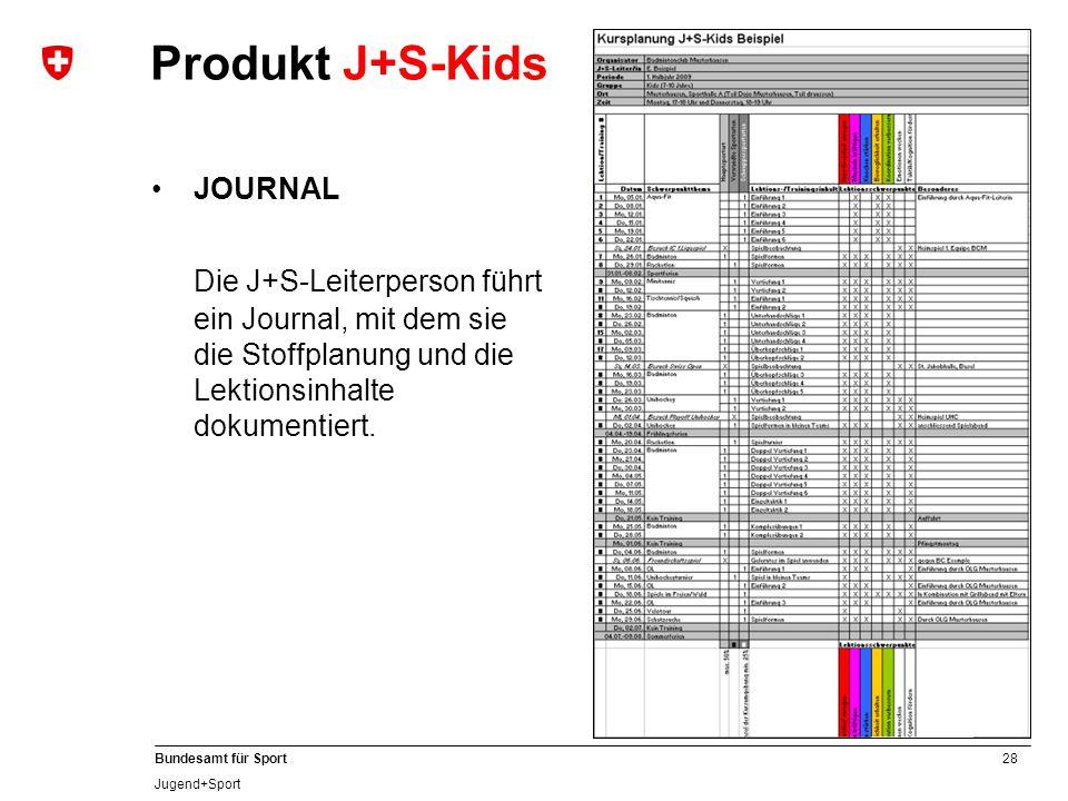 28 Bundesamt für Sport Jugend+Sport JOURNAL Die J+S-Leiterperson führt ein Journal, mit dem sie die Stoffplanung und die Lektionsinhalte dokumentiert.