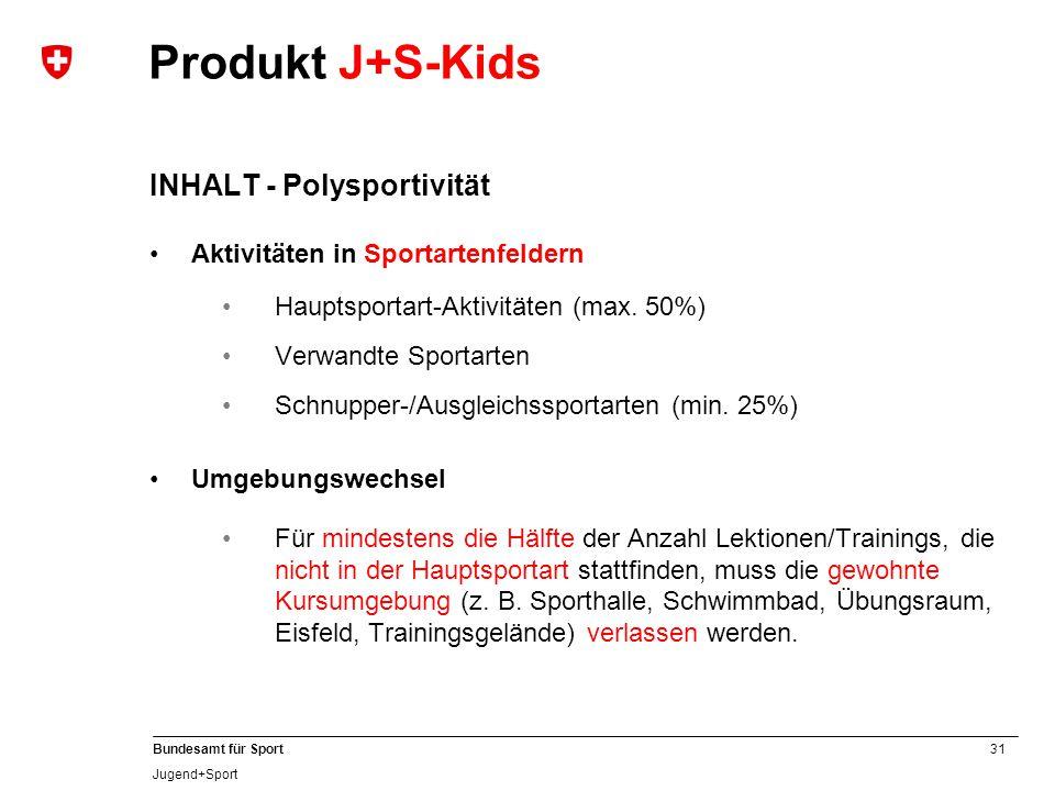 31 Bundesamt für Sport Jugend+Sport INHALT - Polysportivität Aktivitäten in Sportartenfeldern Hauptsportart-Aktivitäten (max. 50%) Verwandte Sportarte