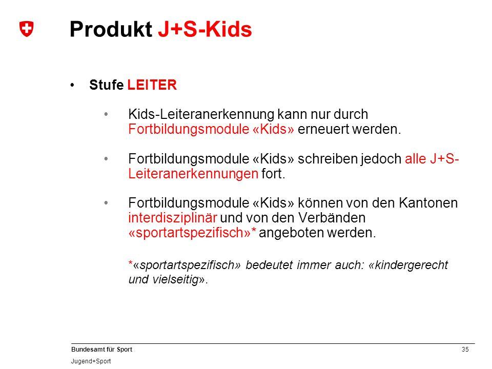 35 Bundesamt für Sport Jugend+Sport Stufe LEITER Kids-Leiteranerkennung kann nur durch Fortbildungsmodule «Kids» erneuert werden. Fortbildungsmodule «