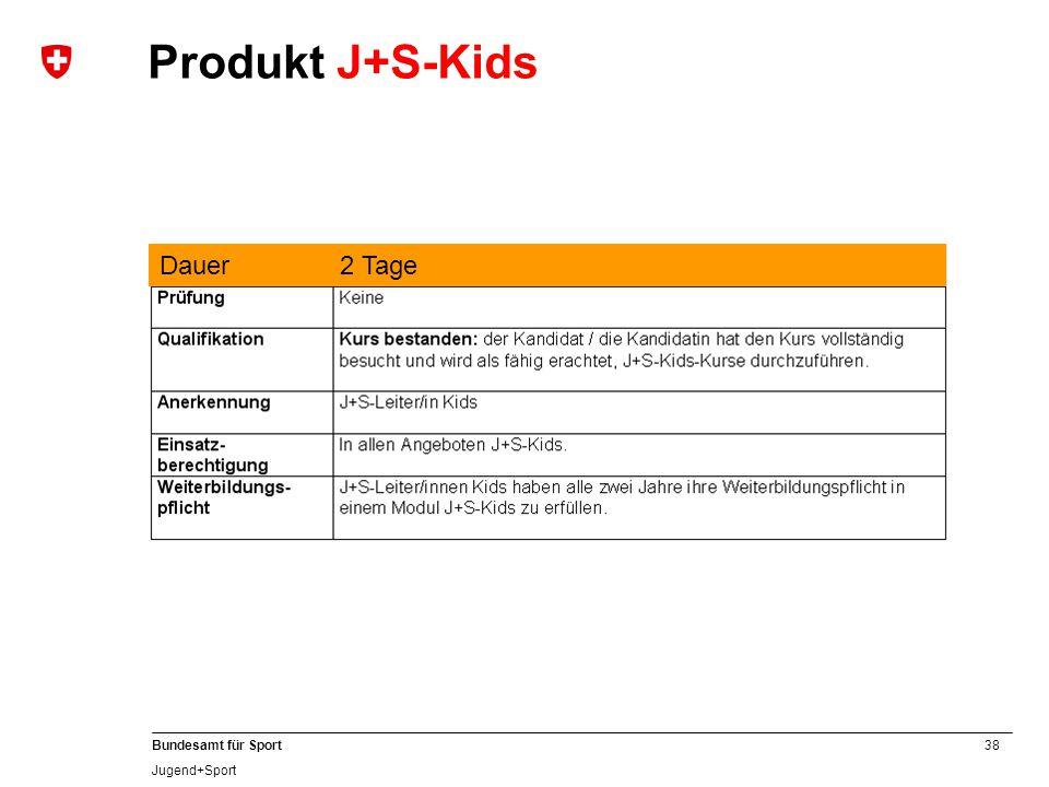 38 Bundesamt für Sport Jugend+Sport Dauer2 Tage Produkt J+S-Kids