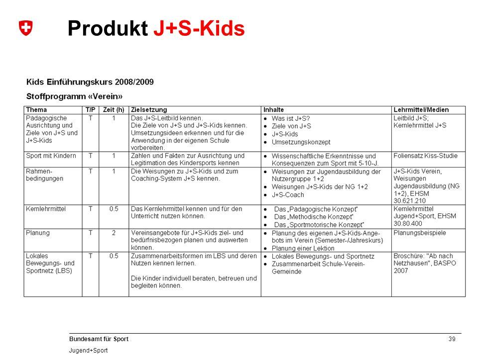 39 Bundesamt für Sport Jugend+Sport Produkt J+S-Kids