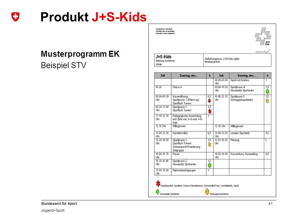 41 Bundesamt für Sport Jugend+Sport Musterprogramm EK Beispiel STV Produkt J+S-Kids