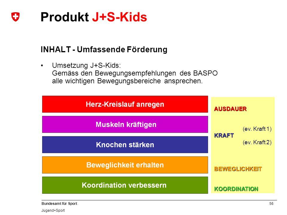 56 Bundesamt für Sport Jugend+Sport Produkt J+S-Kids INHALT - Umfassende Förderung Umsetzung J+S-Kids: Gemäss den Bewegungsempfehlungen des BASPO alle wichtigen Bewegungsbereiche ansprechen.