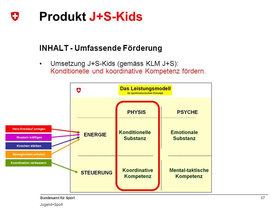 57 Bundesamt für Sport Jugend+Sport Produkt J+S-Kids INHALT - Umfassende Förderung Umsetzung J+S-Kids (gemäss KLM J+S): Konditionelle und koordinative Kompetenz fördern.