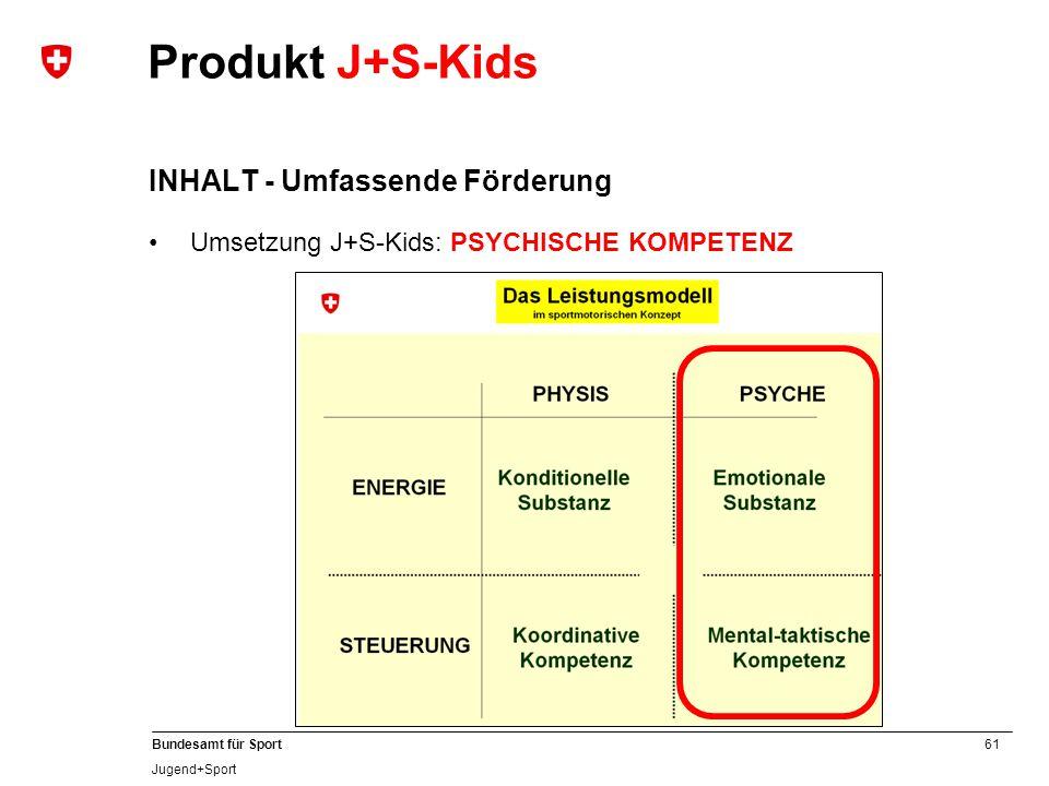 61 Bundesamt für Sport Jugend+Sport Produkt J+S-Kids INHALT - Umfassende Förderung Umsetzung J+S-Kids: PSYCHISCHE KOMPETENZ