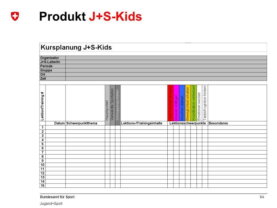 64 Bundesamt für Sport Jugend+Sport Produkt J+S-Kids