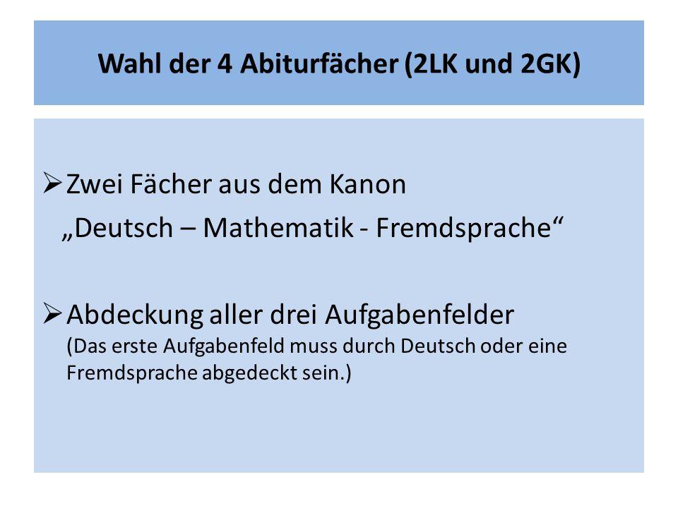 """Wahl der 4 Abiturfächer (2LK und 2GK)  Zwei Fächer aus dem Kanon """"Deutsch – Mathematik - Fremdsprache  Abdeckung aller drei Aufgabenfelder (Das erste Aufgabenfeld muss durch Deutsch oder eine Fremdsprache abgedeckt sein.)"""