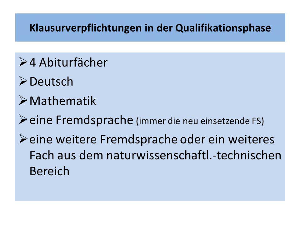Klausurverpflichtungen in der Qualifikationsphase  4 Abiturfächer  Deutsch  Mathematik  eine Fremdsprache (immer die neu einsetzende FS)  eine weitere Fremdsprache oder ein weiteres Fach aus dem naturwissenschaftl.-technischen Bereich
