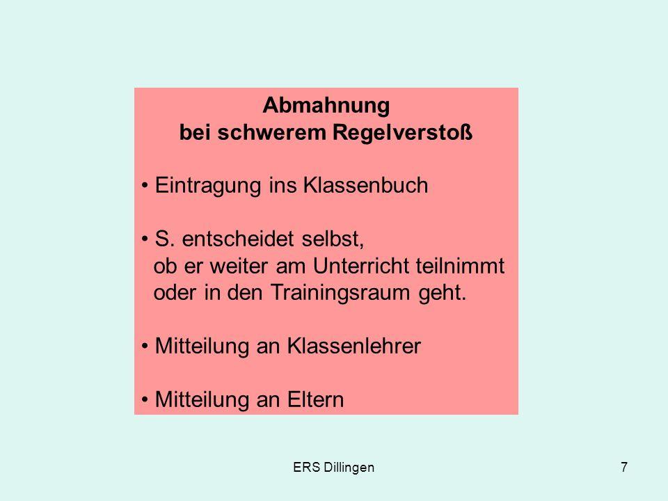 ERS Dillingen8 1.– 3. Trainingsraum Nur nach vorheriger Abmahnung Eintrag.