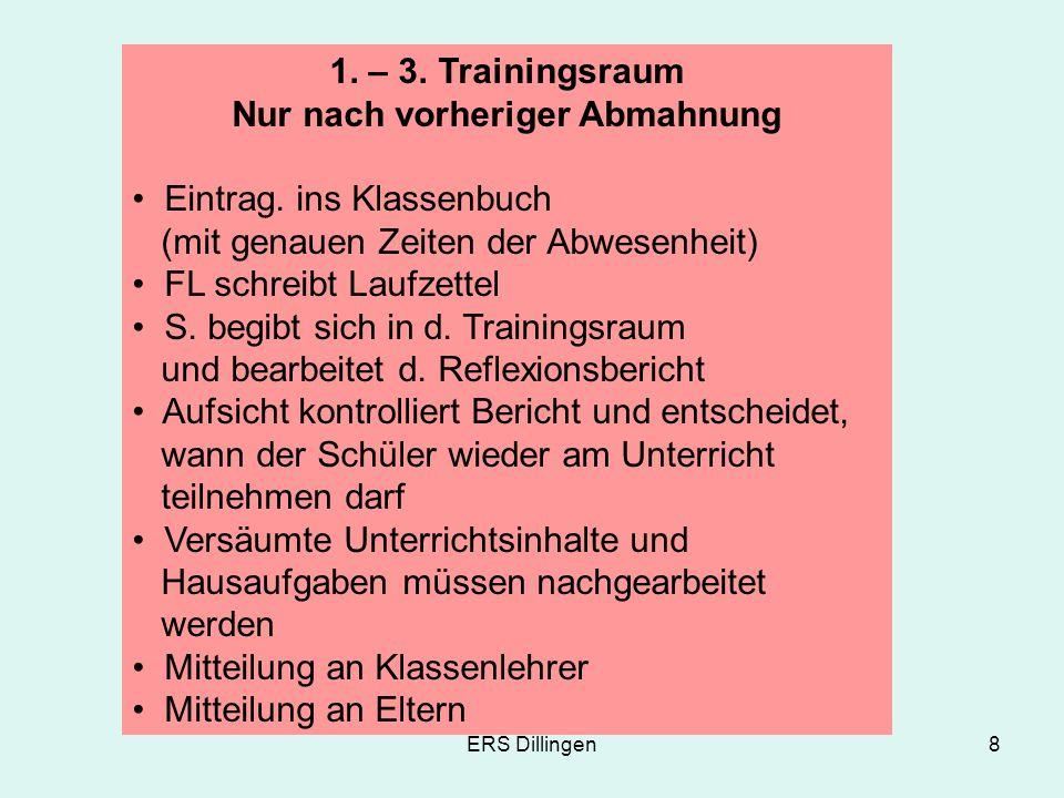 ERS Dillingen8 1. – 3. Trainingsraum Nur nach vorheriger Abmahnung Eintrag. ins Klassenbuch (mit genauen Zeiten der Abwesenheit) FL schreibt Laufzette