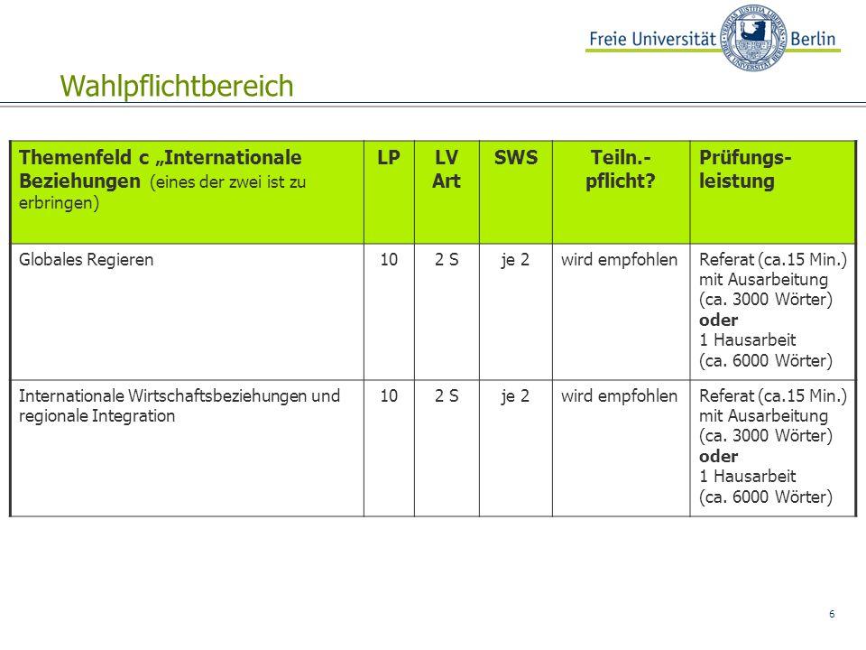"""6 Themenfeld c """"Internationale Beziehungen (eines der zwei ist zu erbringen) LPLV Art SWSTeiln.- pflicht? Prüfungs- leistung Globales Regieren102 Sje"""