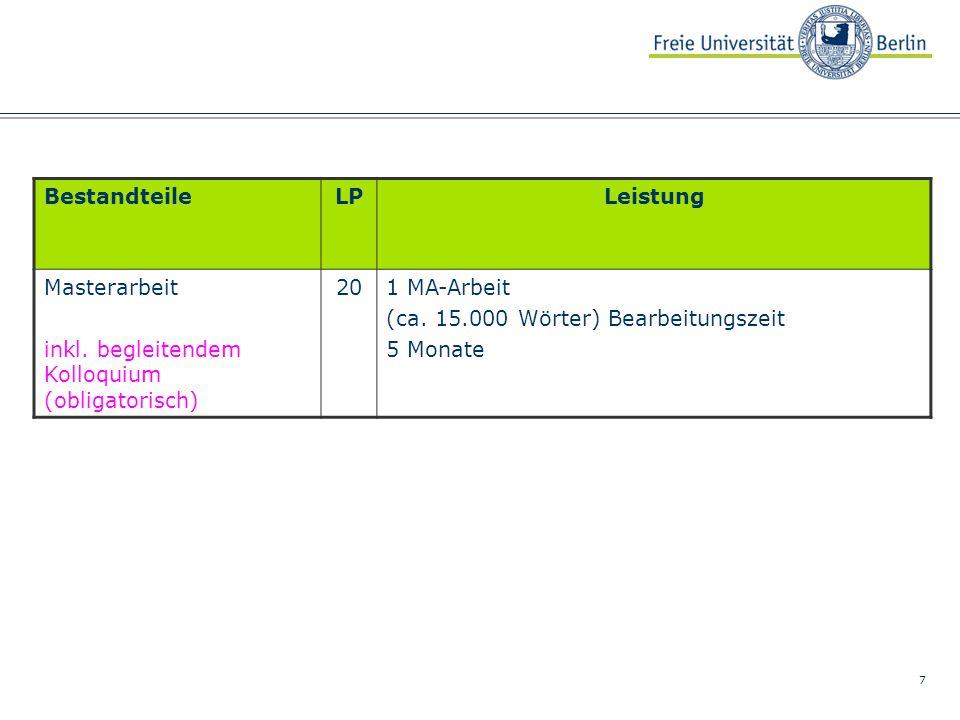 8 Links Campus Management an der FU Berlin www.fu-berlin.de/sites/campusmanagement Campus Management am FB PolSoz http://www.polsoz.fu-berlin.de/studium/campus_management/index.html OSI-Homepage (Studienfachberatung, KVV, Lehrende, Arbeitsbereiche) http://www.polsoz.fu-berlin.de/polwiss/index.html Informationen zur Abschlussprüfung http://www.polsoz.fu- berlin.de/studium/studiengaenge/ma_studiengaenge/dt__frz__doppelmaster _public_policy/index.html Studien- und Prüfungsordnungen, SfS, SfAP http://www.fu-berlin.de/studium/pruefung/stud-pruef-ordnungen.html