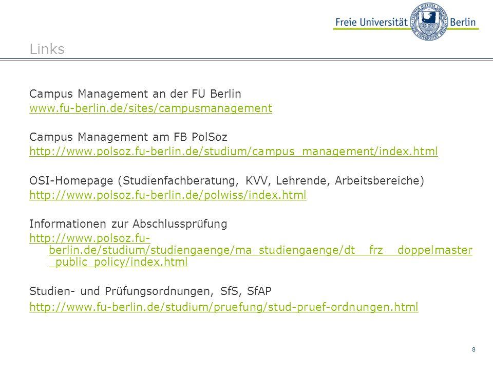 8 Links Campus Management an der FU Berlin www.fu-berlin.de/sites/campusmanagement Campus Management am FB PolSoz http://www.polsoz.fu-berlin.de/studi