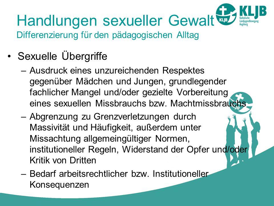 Handlungen sexueller Gewalt Differenzierung für den pädagogischen Alltag Sexuelle Übergriffe –Ausdruck eines unzureichenden Respektes gegenüber Mädche