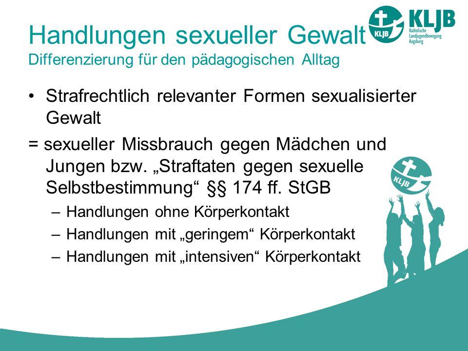 Handlungen sexueller Gewalt Differenzierung für den pädagogischen Alltag Strafrechtlich relevanter Formen sexualisierter Gewalt = sexueller Missbrauch