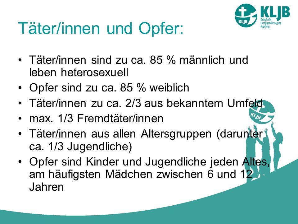 Täter/innen und Opfer: Täter/innen sind zu ca. 85 % männlich und leben heterosexuell Opfer sind zu ca. 85 % weiblich Täter/innen zu ca. 2/3 aus bekann