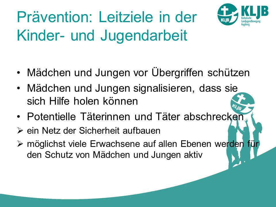 Prävention: Leitziele in der Kinder- und Jugendarbeit Mädchen und Jungen vor Übergriffen schützen Mädchen und Jungen signalisieren, dass sie sich Hilf