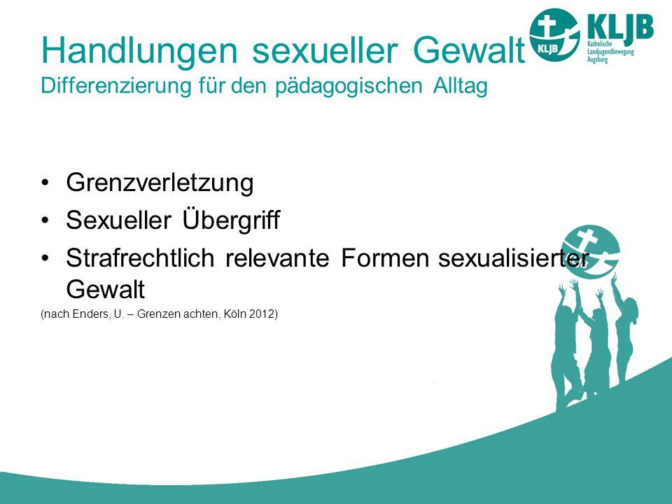 Handlungen sexueller Gewalt Differenzierung für den pädagogischen Alltag Grenzverletzung Sexueller Übergriff Strafrechtlich relevante Formen sexualisi