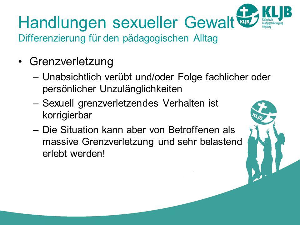 Handlungen sexueller Gewalt Differenzierung für den pädagogischen Alltag Grenzverletzung –Unabsichtlich verübt und/oder Folge fachlicher oder persönli