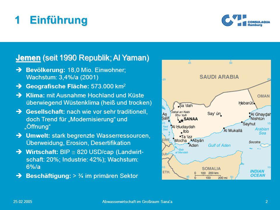 25.02.2005Abwasserwirtschaft im Großraum Sana'a2 1 Einführung Jemen (seit 1990 Republik; Al Yaman)  Bevölkerung: 18,0 Mio. Einwohner; Wachstum: 3,4%/