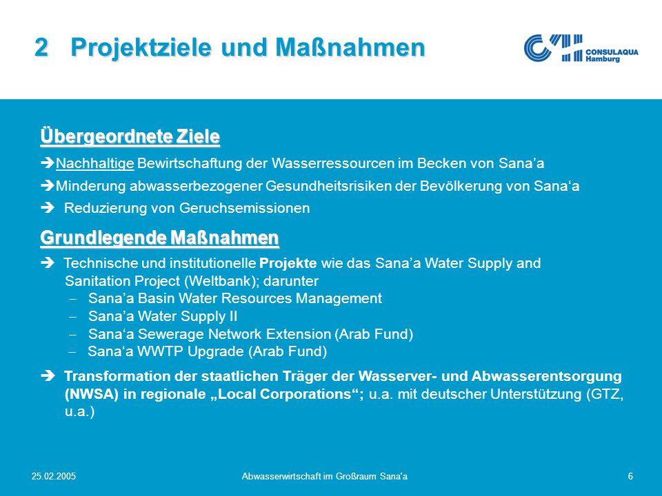 25.02.2005Abwasserwirtschaft im Großraum Sana'a6 2 Projektziele und Maßnahmen Übergeordnete Ziele  Nachhaltige Bewirtschaftung der Wasserressourcen i
