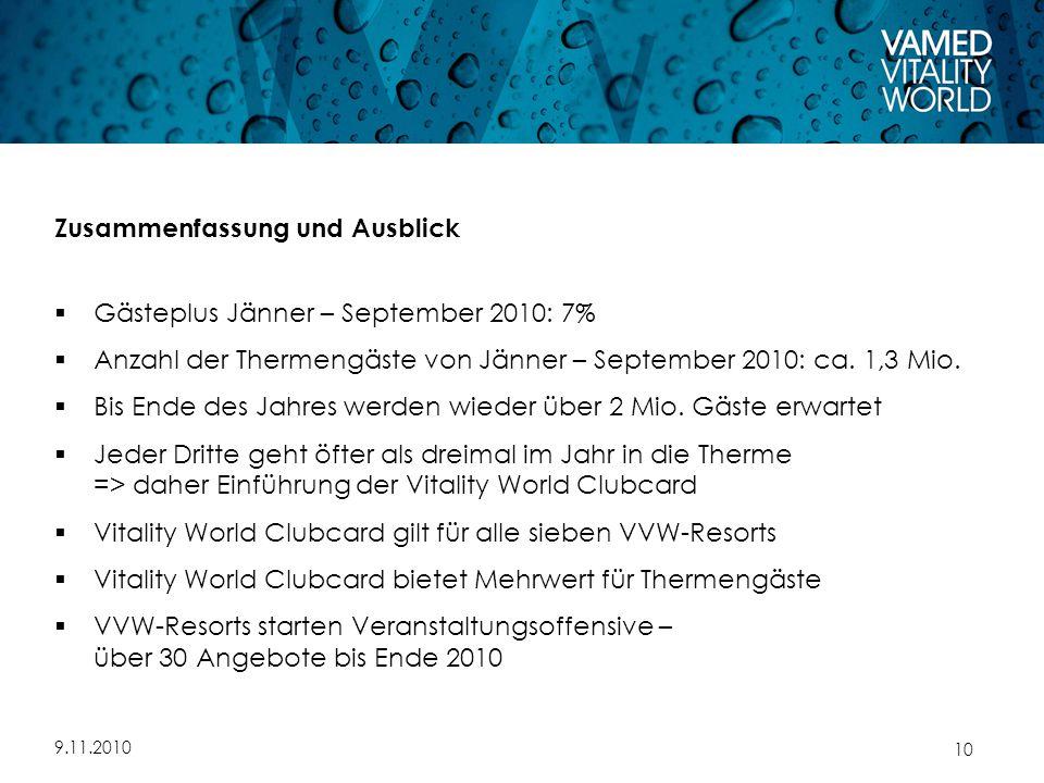 9.11.2010 10 Zusammenfassung und Ausblick  Gästeplus Jänner – September 2010: 7%  Anzahl der Thermengäste von Jänner – September 2010: ca.
