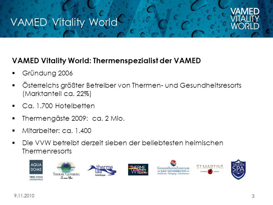 9.11.2010 3 VAMED Vitality World VAMED Vitality World: Thermenspezialist der VAMED  Gründung 2006  Österreichs größter Betreiber von Thermen- und Gesundheitsresorts (Marktanteil ca.