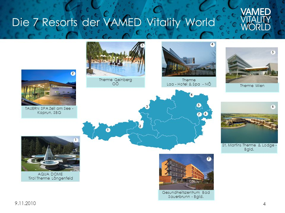 9.11.2010 4 Die 7 Resorts der VAMED Vitality World AQUA DOME Tirol Therme Längenfeld 4 2 3 7 5 6 1 Therme Laa - Hotel & Spa - NÖ 4 TAUERN SPA Zell am